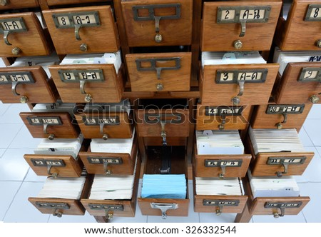 Index cabinet,library card or file catalog. - stock photo