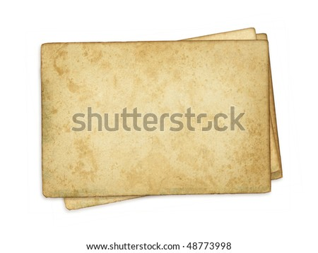 Index cards. Image of an old, grungy note-card isolated on a white background. Three blank piece of paper. - stock photo