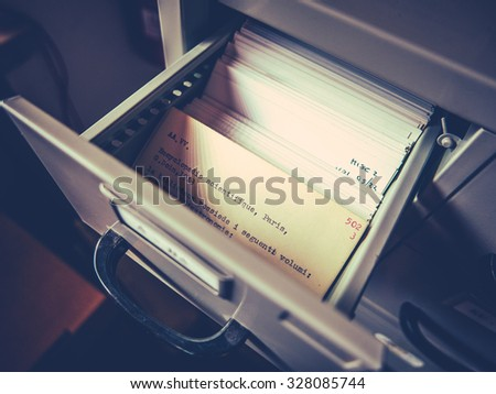 Index Cards In An Old-Fashioned University Academic Library In Rome, Italy - stock photo