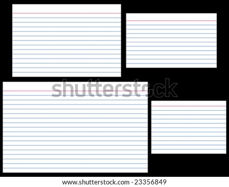 "Index Cards in four popular sizes: 4"" x 6"", 3"" x 5"", 5"" x 8"", and A7 (ISO). Each card is individually grouped and is actual size."