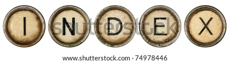 Index, close up on old grunge typewriter keys - stock photo