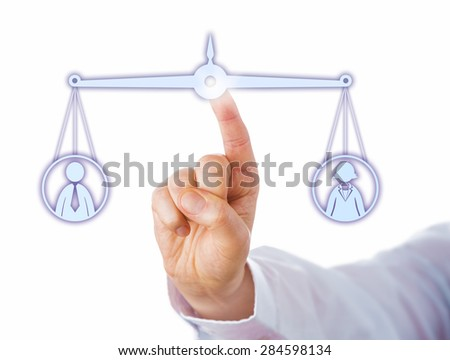 Index finger of a white collar worker is balancing out a female and a male knowledge worker icon on a virtual scale. Cutout isolated on white background. Business metaphor with gender dimension. - stock photo