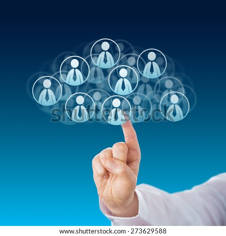 Index finger of a white collar worker touching human resources icons that shape a virtual cloud. Business metaphor for cloud computing and technology service industry. Close up on blue background. - stock photo