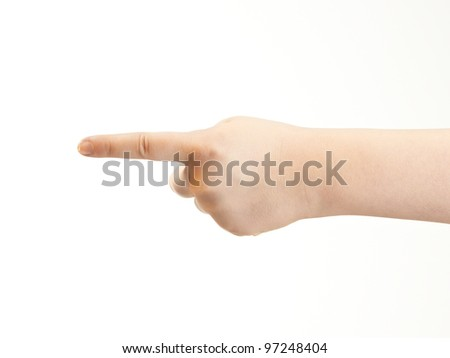 Index finger pointing - girls hand