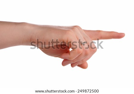 Index finger pointing isolated over white background - stock photo