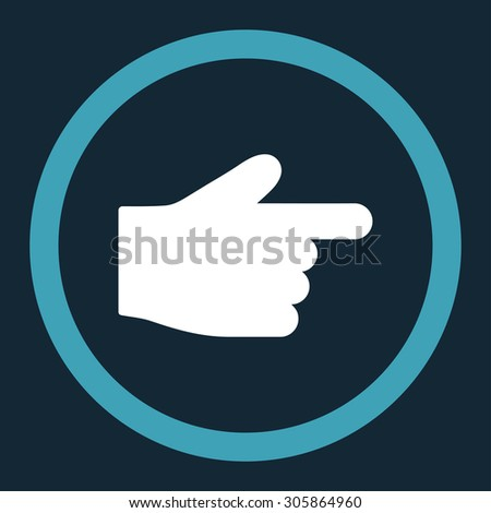 Index Finger raster icon. This rounded flat symbol is drawn with blue and white colors on a dark blue background.