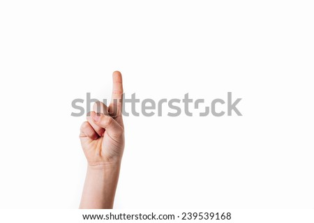 Index finger touching screen isolated on white background.
