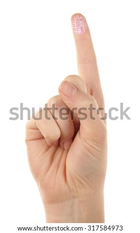 Index finger with microchip picture on it isolated on white