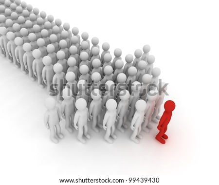 Index made of people. 3D image. - stock photo