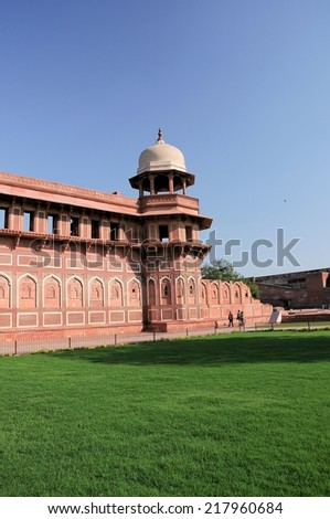 India: Agra Red Fort, a Unesco World Heritage site, and one of the biggest tourist highlights, just 2 km of Taj Mahal. Built by several Mughal emperors from XV to XVI centuries. Uttar Pradesh, India.  - stock photo