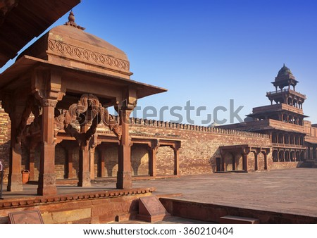 India, ancient buildings of the left city Fatehpur Sikri.   - stock photo