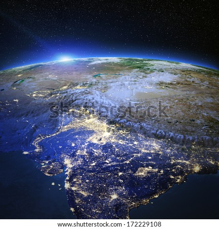India and Tibet city lights. Elements of this image furnished by NASA - stock photo