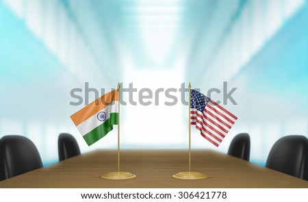 India and United States relations and trade deal talks 3D rendering - stock photo