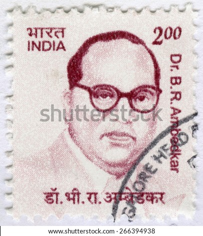 INDIA - CIRCA 2011: A stamp printed in India shows Dr. Bhimrao Ramji Ambedkar Jayanti (1891-1956), lawyer and leader in social reform, circa 2011  - stock photo