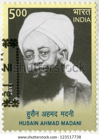 INDIA - CIRCA 2012: A stamp printed in India shows Husain Ahmad Madani (1879-1957), circa 2012