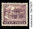 INDIA - CIRCA 1965: A stamp printed in India shows image of calcutta G.P.O. building 1868 (Kolkata indian building), circa 1965 - stock photo