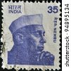 INDIA - CIRCA 1983: A stamp printed in India shows Jawaharlal Nehru, circa 1983 - stock photo