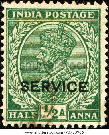 INDIA - CIRCA 1923: A stamp printed in India shows  King George V of the UK, series, circa 1923