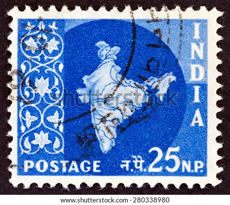 INDIA CIRCA 1957: A stamp printed in India shows map of India circa 1957. - stock photo