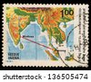 INDIA - CIRCA 1981: A stamp printed in India shows map with continent and ocean, circa 1981 - stock photo