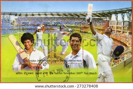 INDIA - CIRCA 2013: A stamp printed in India shows Sachin Tendulkar, cricketer player, dedicated 200th Test Match, circa 2013 - stock photo