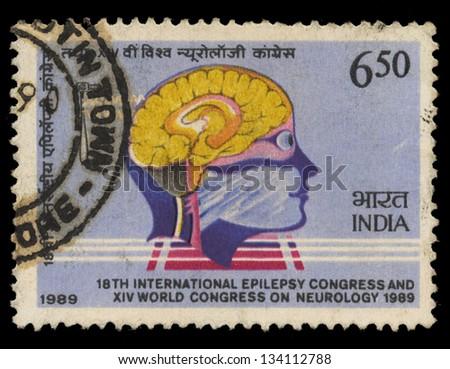 INDIA - CIRCA 1989: A stamp printed in India shows 18th International Epilepsy Congress & 14th World Congress on Neurology - New Delhi, circa 1989 - stock photo