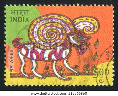 INDIA - CIRCA 2010: stamp printed by India, shows aries, circa 2010