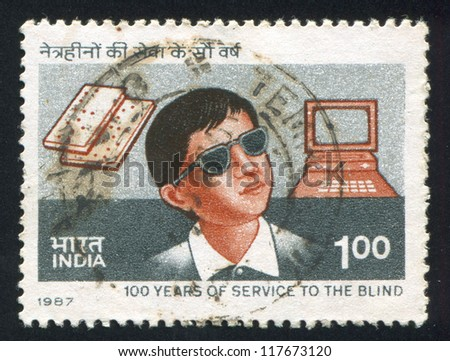 INDIA - CIRCA 1987: stamp printed by India, shows blind boy, computer, book, circa 1987 - stock photo