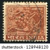 INDIA - CIRCA 1965: stamp printed by India, shows cluster of coffee berries, circa 1965 - stock photo