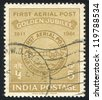 INDIA - CIRCA 1961: stamp printed by India, shows First Airmail Postmark, circa 1961 - stock photo