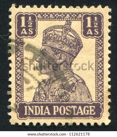 INDIA - CIRCA 1941: stamp printed by India, shows King George VI, circa 1941