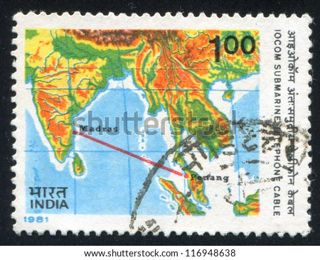 INDIA - CIRCA 1981: stamp printed by India, shows map with continent and ocean, circa 1981 - stock photo