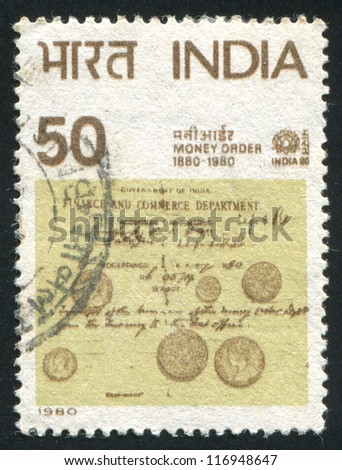 INDIA - CIRCA 1980: stamp printed by India, shows Money Order Centenary, circa 1980