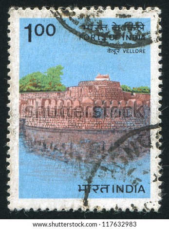 INDIA - CIRCA 1984: stamp printed by India, shows Vellore Fort, circa 1984
