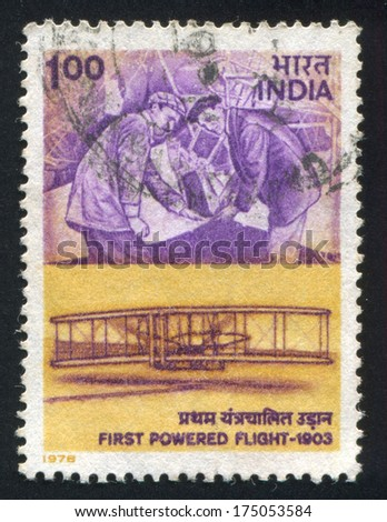 INDIA - CIRCA 1978: stamp printed by India, shows Wright Brothers, circa 1978 - stock photo