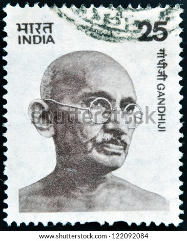 INDIA - CIRCA 1976: stamp printed in India shows Mahatma Gandhi, circa 1976 - stock photo