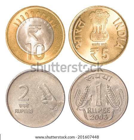 india circulating coins collection set isolated on white background - stock photo