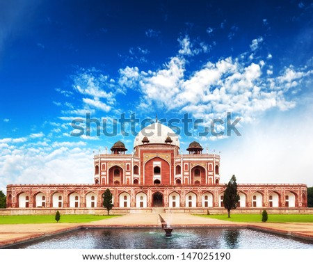 India Delhi Humayun tomb mausoleum. Indian architecture monument - stock photo