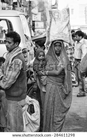 INDIA, Delhi; 21 january 2007, indian woman at the Uttar Pradesh market - EDITORIAL - stock photo