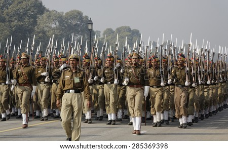 INDIA, Delhi; 20 january 2007, military parade for Indipendence Day - EDITORIAL - stock photo