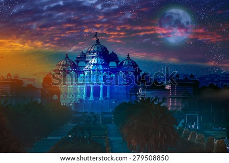 India. Delhi. The temple Akshardham by the light of the full Moon. Elements of this image furnished by NASA.