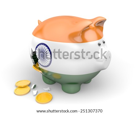 India economy and finance concept for unemployment, poverty, and national debts - stock photo
