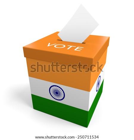 India election ballot box for collecting votes - stock photo