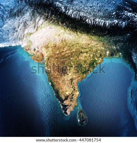 India. Elements of this image furnished by NASA. 3D rendering - stock photo