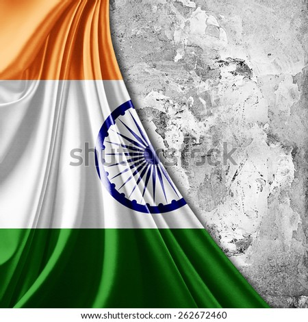 India flag and wall background - stock photo