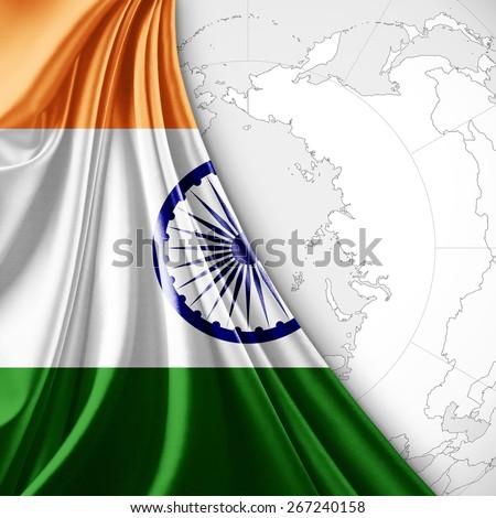 India  flag and world map background - stock photo