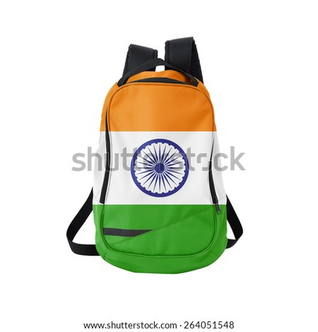 India flag backpack isolated on white background. Back to school concept. Education and study abroad. Travel and tourism in India - stock photo