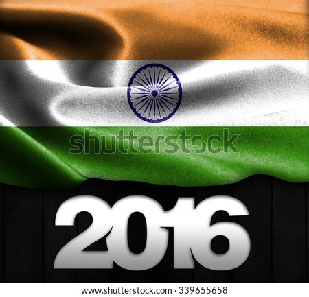 India Flag & Happy New Year 2016 typography on wood texture background - stock photo