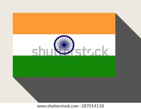 India flag in flat web design style. - stock photo