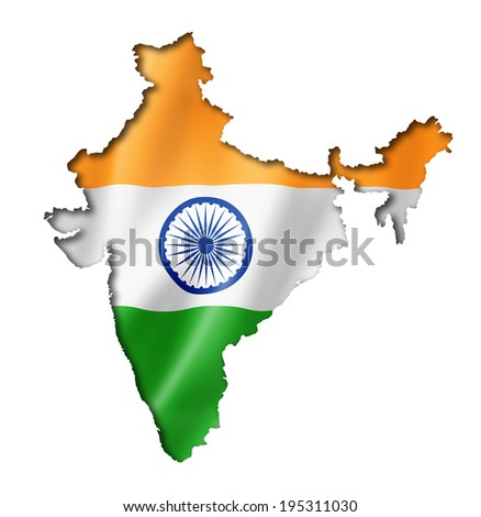 India flag map, three dimensional render, isolated on white - stock photo